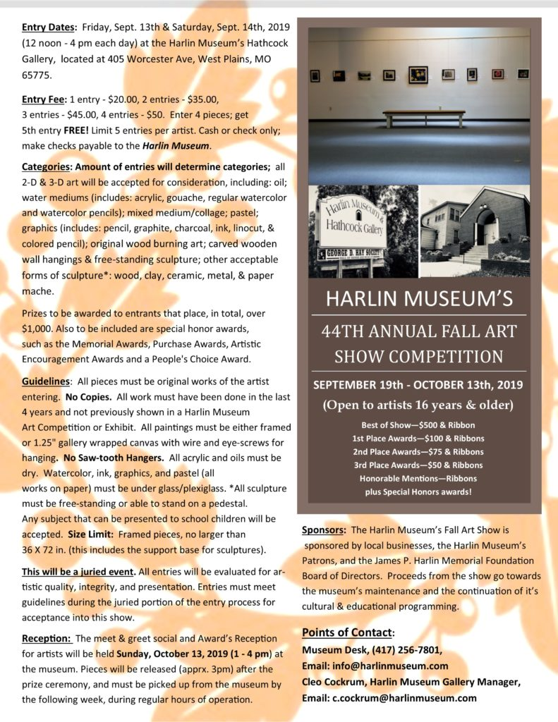 ENTRY DATES : Guidelines for Harlin Museum's 44th Annual Fall Art Show Competition @ Harlin Museum; Upper Level, Hathcock Gallery
