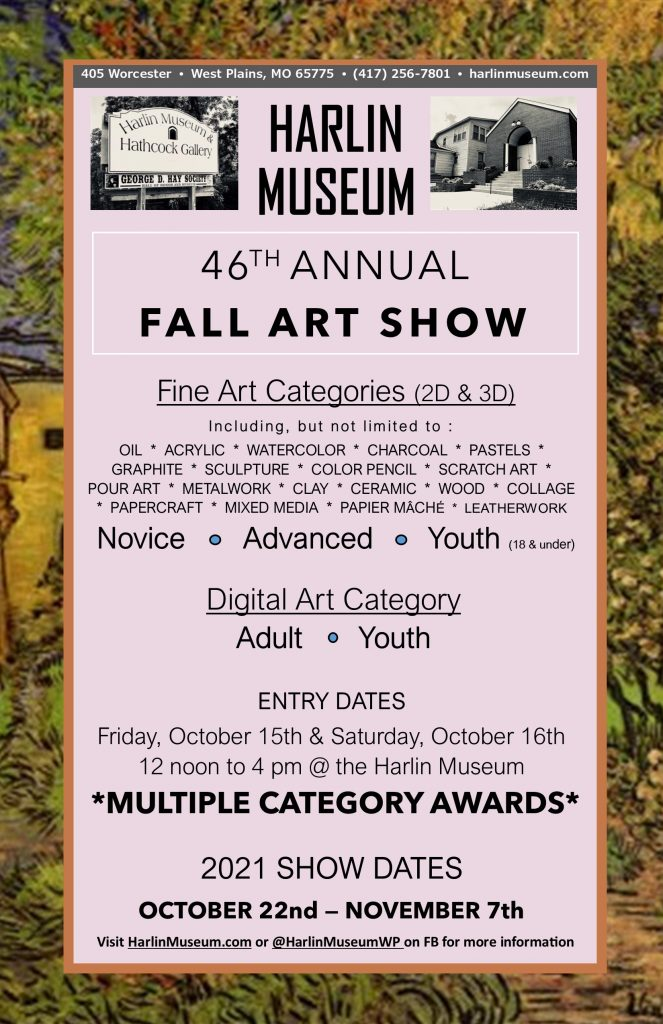 46th Annual Fall Art Show Competition @ Harlin Museum; Upper Level, Hathcock Gallery